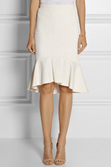Fluted cloqué skirt