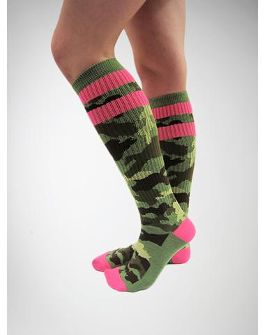 6745e982e91 Camo with Hot Pink Athletic Stripe Knee High Socks