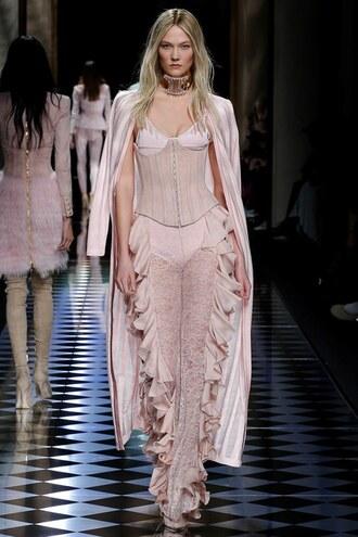 pants balmain karlie kloss model runway nude coat bustier fashion week 2016 paris fashion week 2016 lace