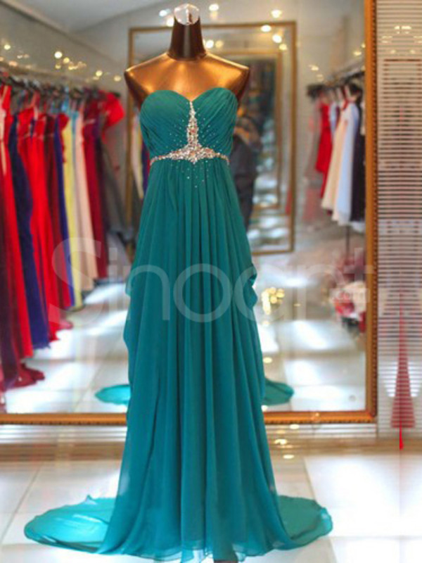 dress long chiffon dress for prom/wedding party and formal evening sleeveless and sweetheart sweep train and have beadings and sequins