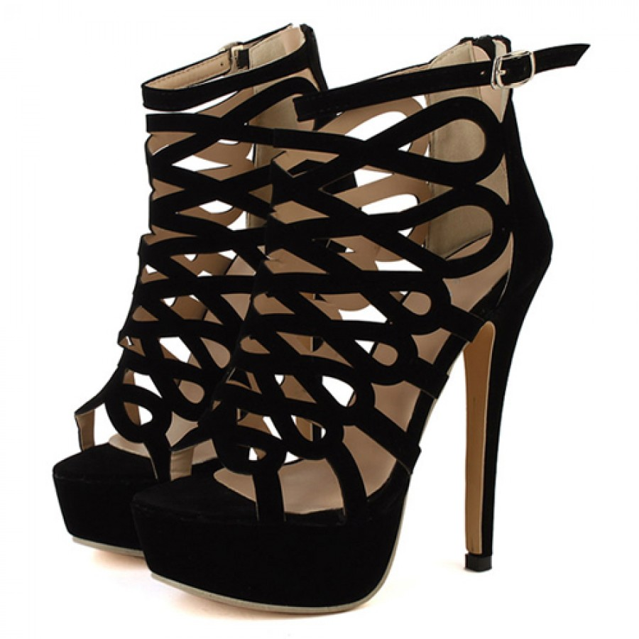 Black platform gladiator strap high heel sandals