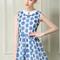 Light blue bow printed peter pan collar dress