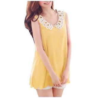 blouse peter pan collar yellow