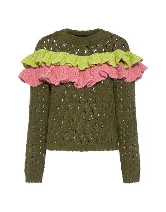 sweater open ruffle wool knit green