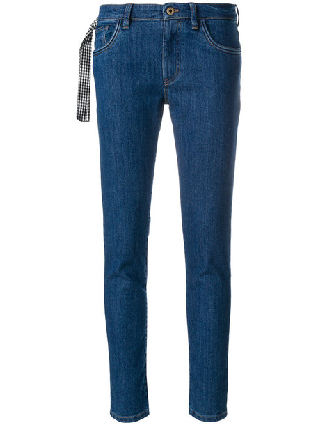 Miu Miu jeans women spandex cotton blue gingham