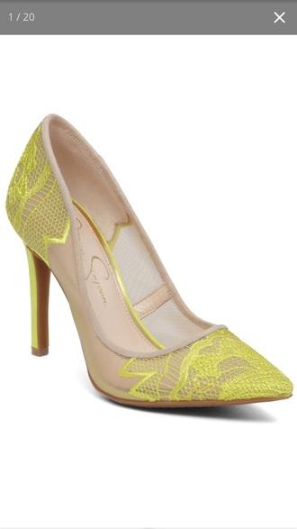 shoes neon nude heels neon yellow heels high heels cute high heels floral heels