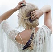 feathers,lace,t-shirt,white,ring,accessories,crochet,summer outfits,Accessory,white t-shirt,festival,beach wedding,hair/makeup inspo,hairstyles,wedding hairstyles,blouse,summer,shirt,hair accessory,summer beauty,nail polish,summer shirt,summer top,white lace,jewels,hair adornments,summer accessories,boho