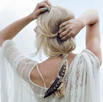 feathers lace t-shirt white ring accessories crochet summer outfits accessory white t-shirt festival beach wedding hair/makeup inspo hairstyles wedding hairstyles blouse summer shirt hair accessory summer beauty nail polish summer shirt summer top white lace jewels