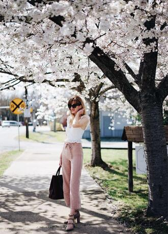 seamlesssea - blogger top pants shoes sunglasses bag white top pink pants handbag spring outfits