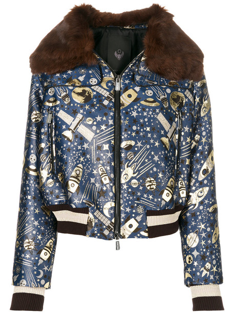 jacket bomber jacket metal fur women blue