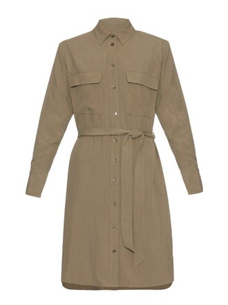 dress silk dress long silk khaki