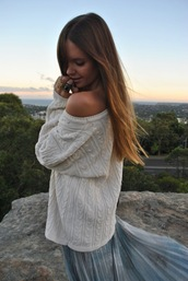 skirt,white sweater,transparent,cable knit,sweater