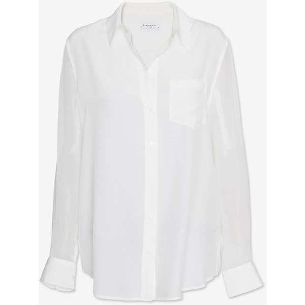 Equipment Sheer Sleeve Blouse: White - Polyvore