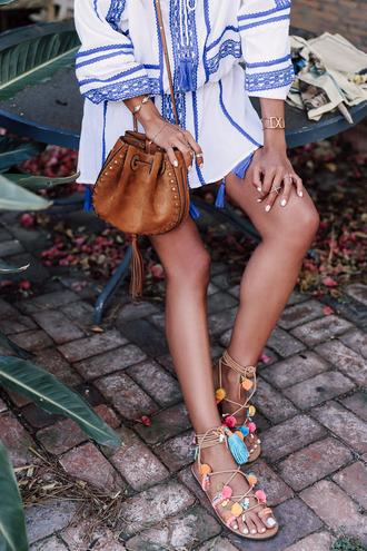 shoes mabu by maria bk sandals flat sandals pom poms bag brown bag bucket bag dress mini dress embroidered embroidered dress bracelets