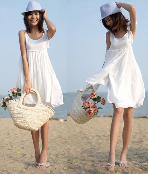 2014 Summer Sleeveless Multi-Layer 100% Cotton Beach Dress White Spaghetti Strap Women One-piece Dress White Color Dress Female | Amazing Shoes UK