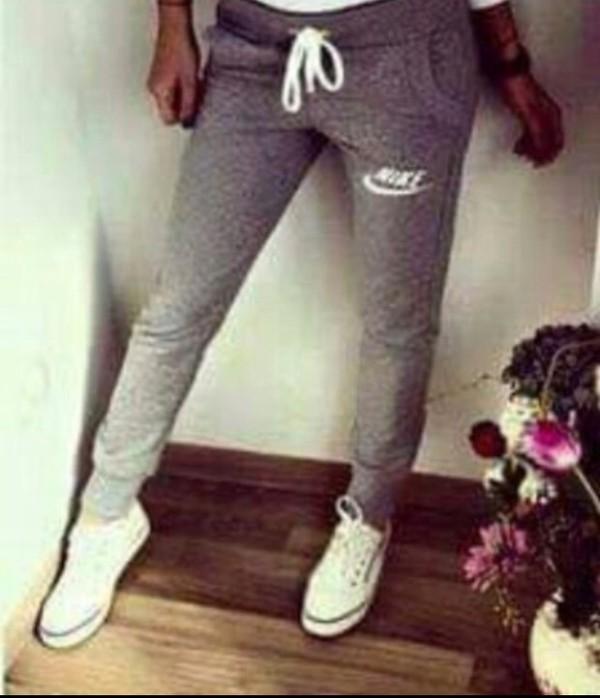 pants grey jogging joggers nike slim jumpsuit sweatpants sportswear girl fitness. Black Bedroom Furniture Sets. Home Design Ideas
