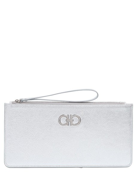 pouch leather silver bag