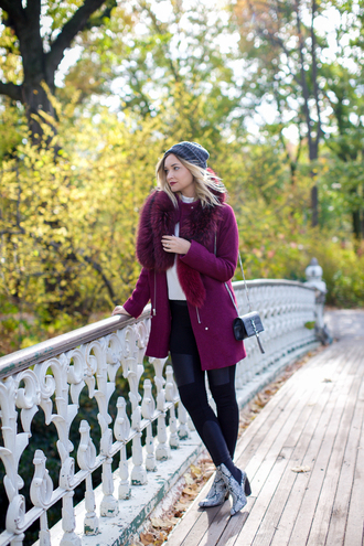late afternoon blogger fall coat oxblood python shoes fur collar coat