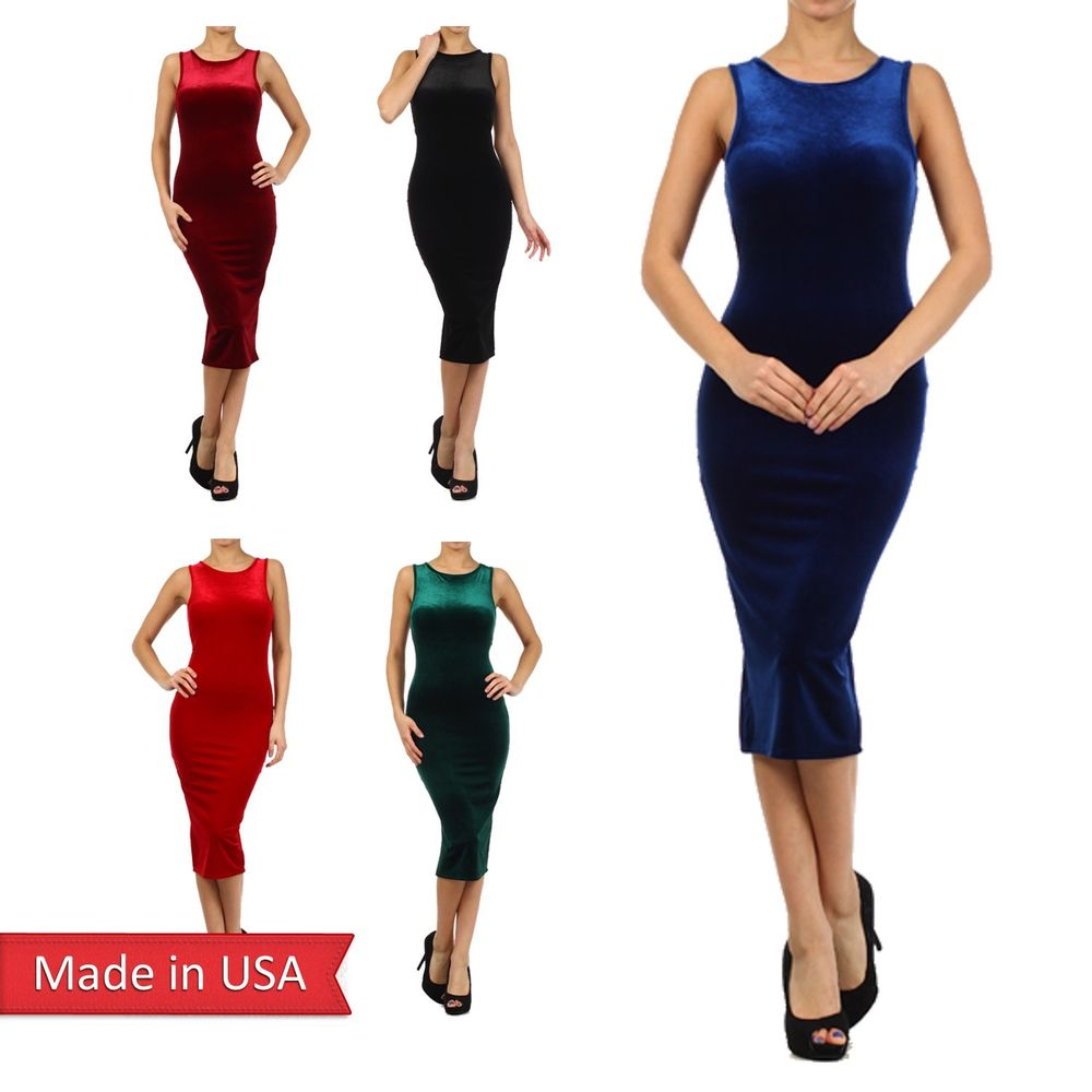 New Women Sexy Sleeveless Velour Color Velvet Tank Midi Bodycon Pencil Dress USA