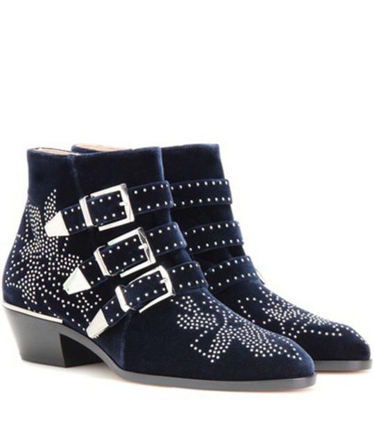 Chloe studded boots ankle boots velvet ankle boots velvet blue shoes