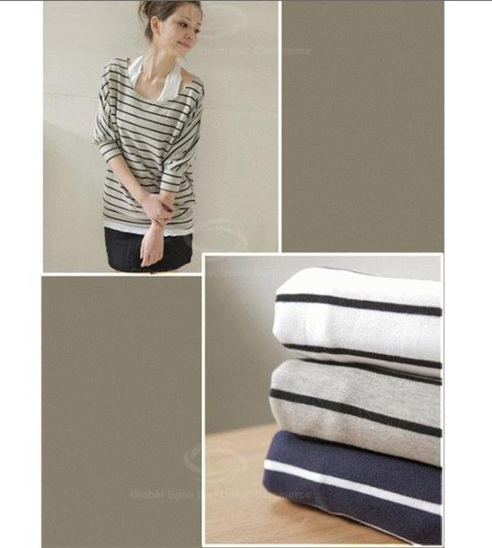 shirt scoop neck bat wing stripes loose fitting