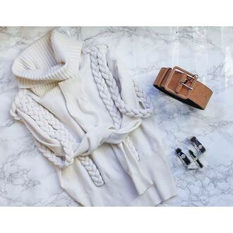 sweater karen millen knitted sweater knitwear cable knit turtleneck sweater off-white sweater
