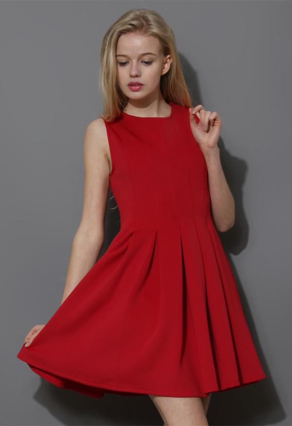 dress favored sleeveless skater dress red