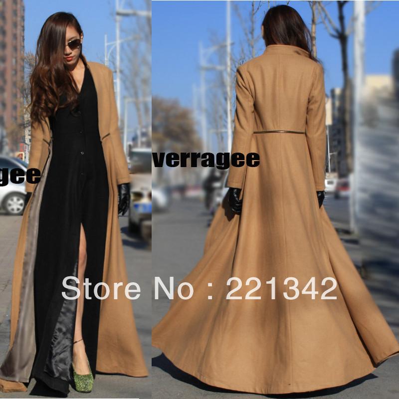 Designer 2 Ways Put on 2013 Winter OVERLENGTH MAXI LONG Women's WOOL Coat Ladies Tweeds New