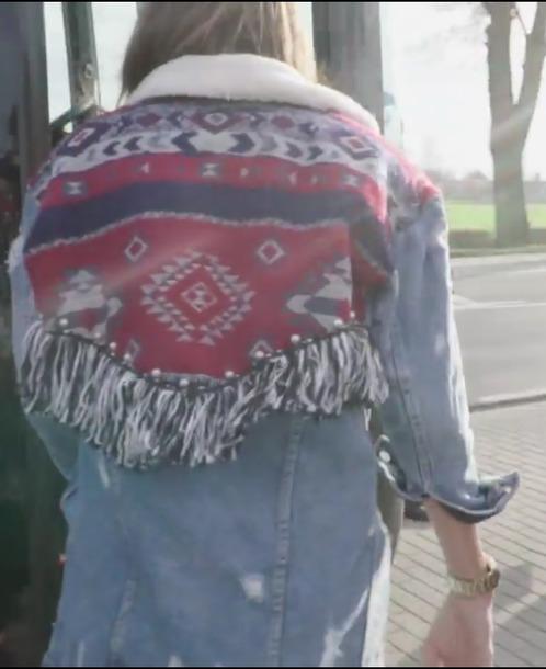 jacket denim jacket aztec fringes