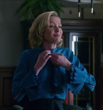 blouse scandal elizabeth north portia de rossi blue silk high waisted black pants bow neck
