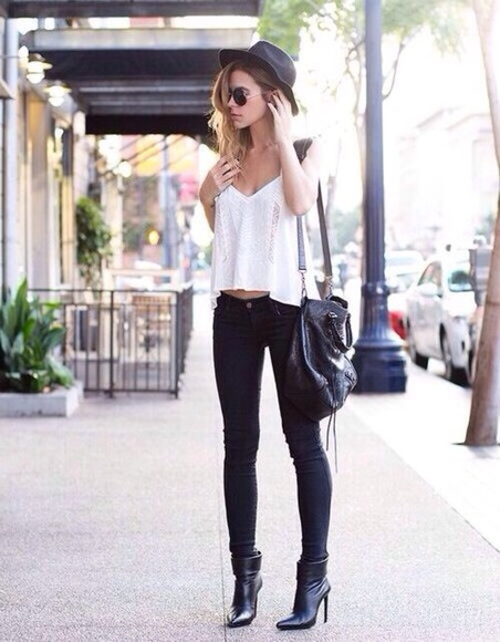 shoes black bag hat high heels ankle boots ankle booties white crop top white summer top shades lennon shades dark jeans t-shirt jeans
