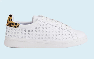 shoes perforated shoes white shoes white sneakers white leopard print
