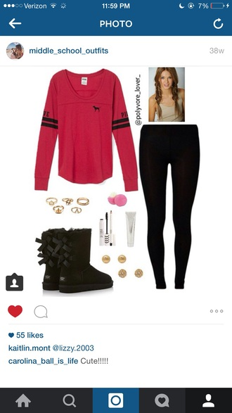 shirt red shirt red victoria's secret pink by victorias secret pink jersey tee shirt jersey fashion fall outfits fall sweater fall top style teenagers pretty cute cute outfits cute top cute sweaters