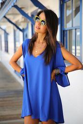 summer dress,mini dress,fashion dress,v neck dress,chiffon dress,a line dress,blue dress casual cute,casual dress,dress,blue dress,sleeveless,blue,solid,off the shoulder