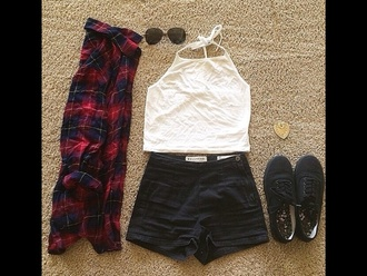 top sunglasses necklace high waisted shorts style punk grunge flannel shirt jewels scarf