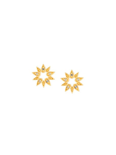 Astley Clarke mini sun women earrings stud earrings gold grey metallic jewels