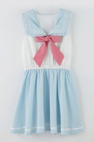 dress kawaii japan fash gyaru kawaii dress japan japanese fashion pretty vintage vintage dress korean fashion korean style korean dress baby doll collared dress school uniform school girl sailor sailor moon sailor style sailor dress pin up pastel pastel blue pastel goth baby blue tokyo fashion tokyo