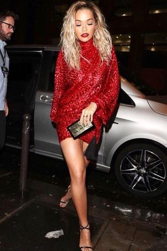 dress red dress bodycon dress bodycon rita ora sequin dress sequins mini dress long sleeves