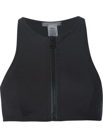 bikini bikini top zip sporty black swimwear