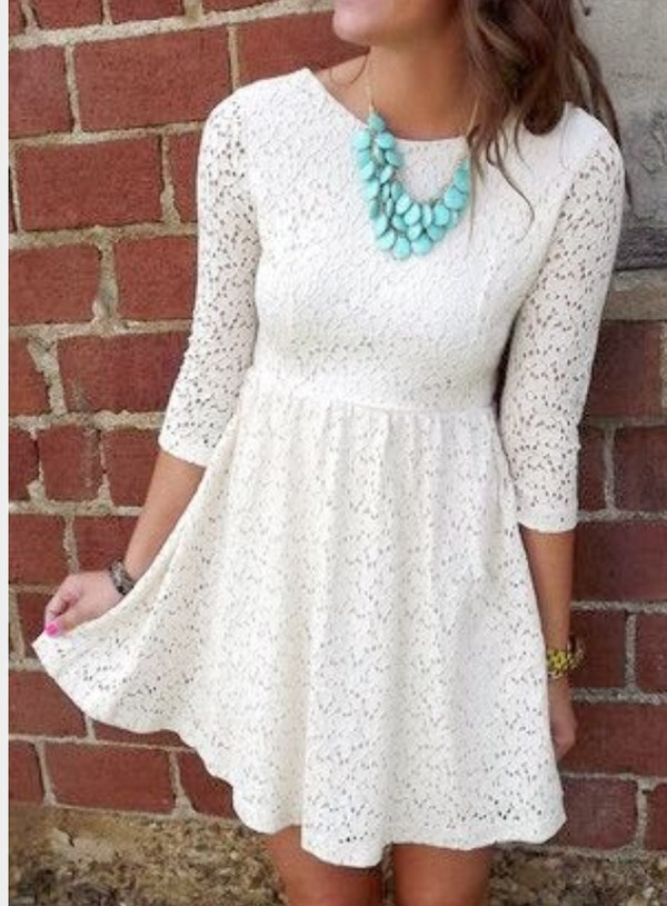 dress white lace skater dress