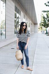top,stripes,jeans,denim,bag,shoes