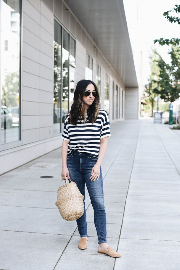 top stripes jeans denim bag shoes