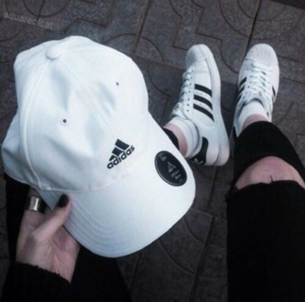 shoes, adidas, adidas shoes, adidas hat, black, white ...