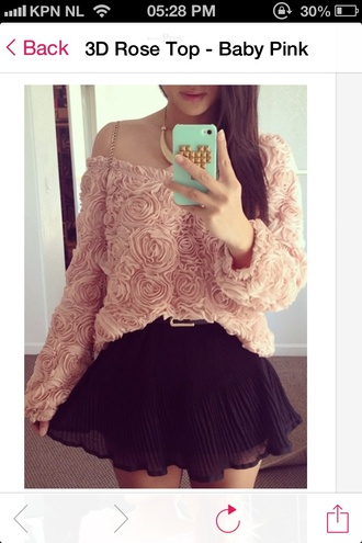 sweater 3d rose roses top shirt pink baby pink