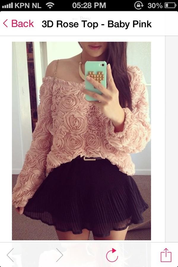 sweater 3d rose roses top shirt pink baby pink