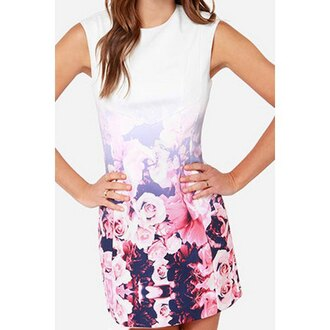 dress floral fashion cute dress beautiful girly stylish pretty flowers roses cool sleeveless party summer fashionista sexy pink black dress rose sexy dress white dress white pure sleek printed dress print round neck