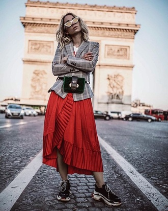 skirt red skirt blazer grey blazer plaid plaid blazer bag belt bag sneakers midi skirt black sneakers