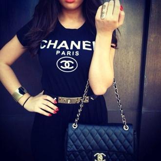 t-shirt black t-shirt chanel t-shirt