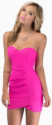 dress,hot pink,tobi,mini dress,pink dress,bodycon dress,wrap dress