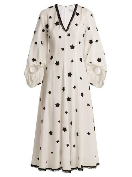 ANDREW GN dress midi dress embroidered midi floral silk white black